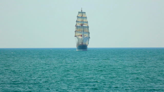 beautiful barque in full sail - sailing ship stock videos & royalty-free footage
