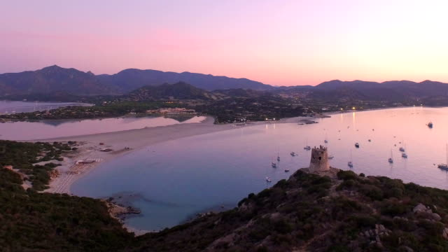 aerial shot: beautiful bay at sunrise - pastel stock videos & royalty-free footage