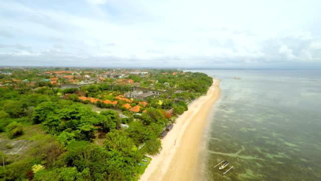 aerial beautiful beach in bali - summer resort stock videos & royalty-free footage