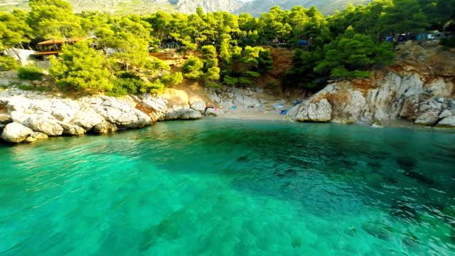 AERIAL Beautiful Beach On Island Hvar
