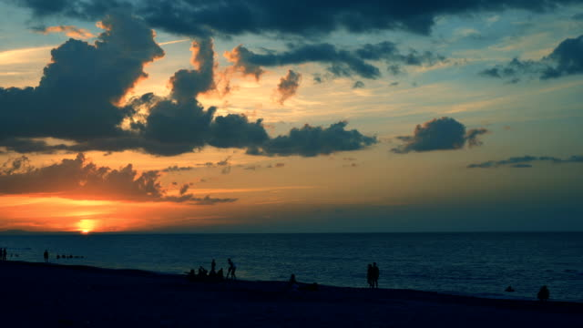 beautiful beach over caribbean sea at sunset - varadero stock videos and b-roll footage