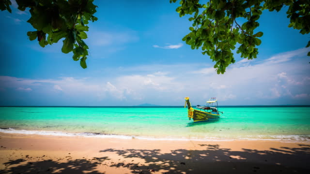 beautiful beach with a longtail boat in thailand - idyllic stock videos & royalty-free footage