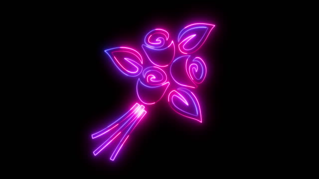 beautiful black background of bouquet icon - neon lighting stock videos & royalty-free footage