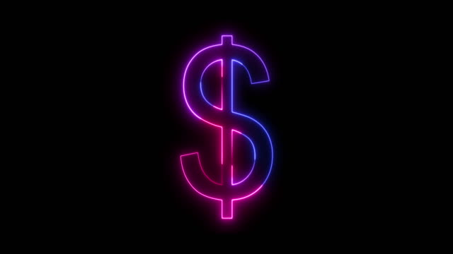 beautiful black background of dollar icon - neon stock videos & royalty-free footage