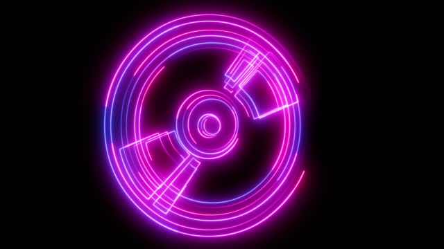beautiful black background of neon cd-rom icon - cd rom stock videos & royalty-free footage