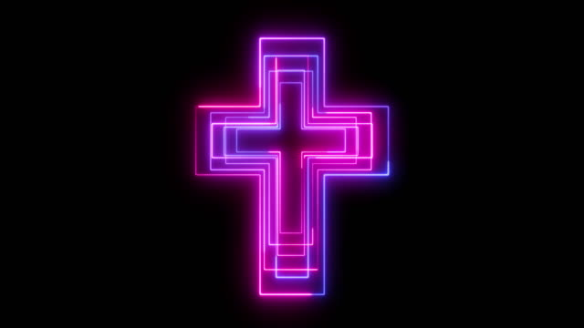 beautiful black background of neon cross icon - religious cross stock videos & royalty-free footage