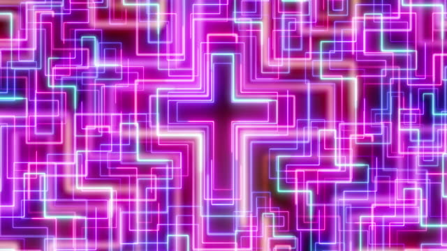 beautiful black background of neon cross icons - religious cross stock videos & royalty-free footage