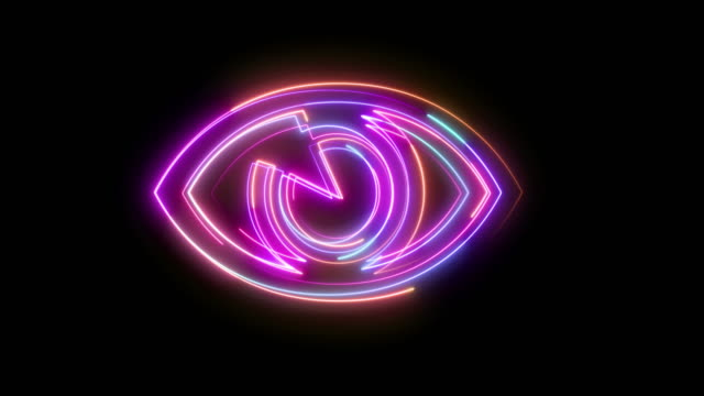 beautiful black background of neon eye icon - sideways glance stock videos & royalty-free footage