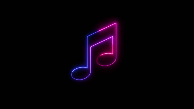 beautiful black background of neon musical note icon - musical symbol stock videos & royalty-free footage
