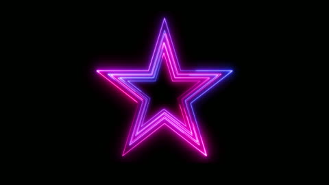 beautiful black background of neon star icon - star shape stock videos & royalty-free footage