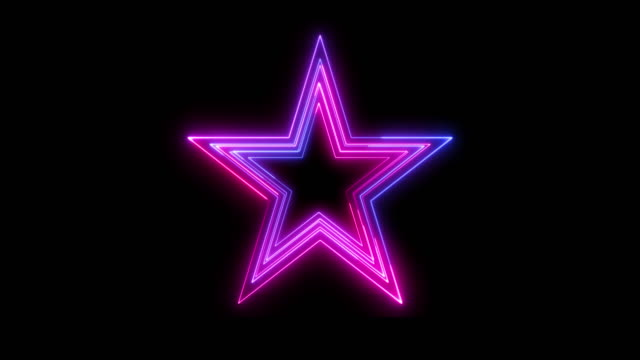 beautiful black background of neon star icon - neon colored stock videos & royalty-free footage