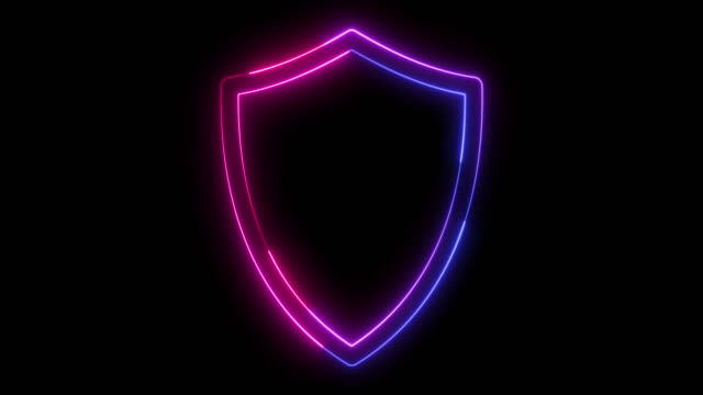 beautiful black background of shield icon - neon stock videos & royalty-free footage