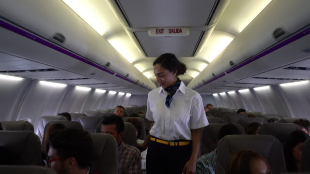 beautiful black flight attendant checking everyone os wearing their seatbelts before take off - abitacolo video stock e b–roll