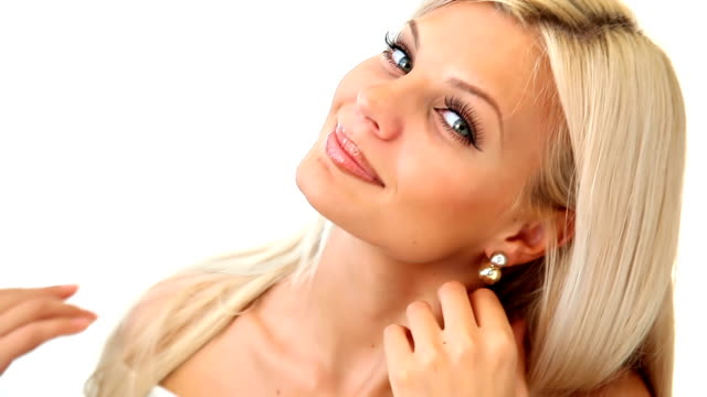 beautiful blonde girl posing at camera - blonde hair stock videos & royalty-free footage
