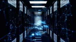 Beautiful Blue Abstract Numbers Moving in Abstract Server Room with DOF Blur. Looped 3d Animation of Datacenter. Business and Futuristic Technology Concept.