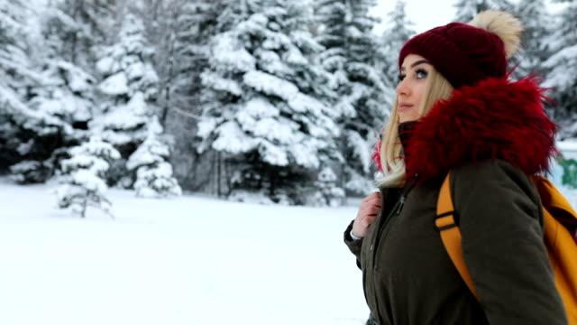 wunderschöne blauäugige blonde mädchen im verschneiten wald - sturm frau stock-videos und b-roll-filmmaterial