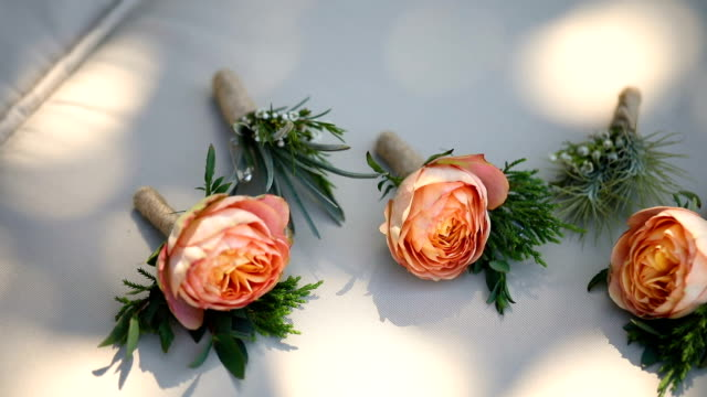 beautiful boutonniere of the groom and groomsman. - rustic stock videos & royalty-free footage