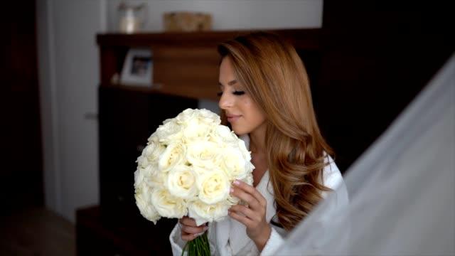 beautiful bride - brown hair stock videos & royalty-free footage