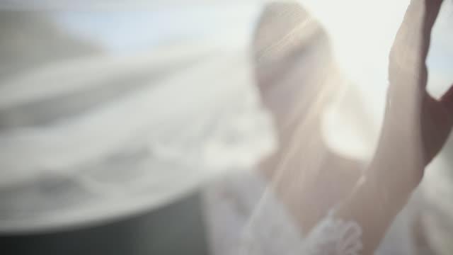 vídeos y material grabado en eventos de stock de hermosa novia con velo de boda en el viento - vestido