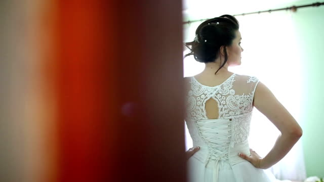 Beautiful brunette bride in wedding dress posing
