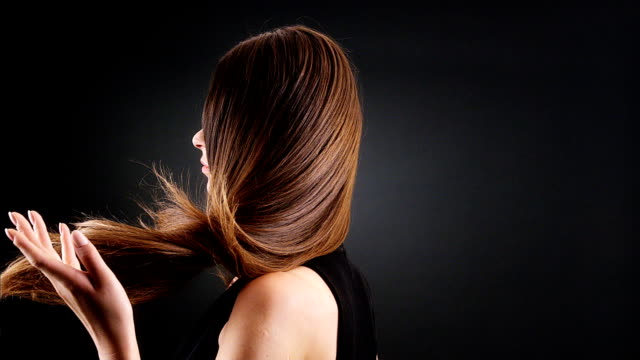 beautiful brunette tossing her long hair - long stock videos & royalty-free footage