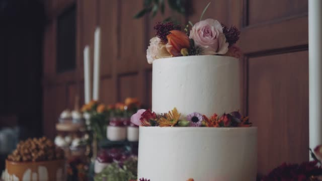 beautiful cake for wedding party - wedding ceremony stock videos & royalty-free footage