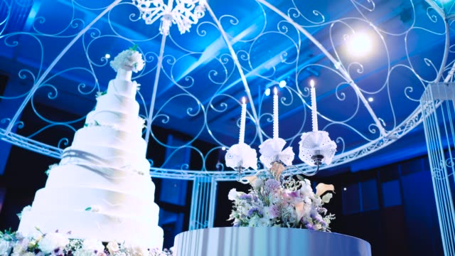 beautiful cake for wedding party, - food styling stock videos & royalty-free footage