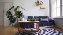 A beautiful carpet, a small table with magazines, a cozy sofa against the white wall. Loft Apartments