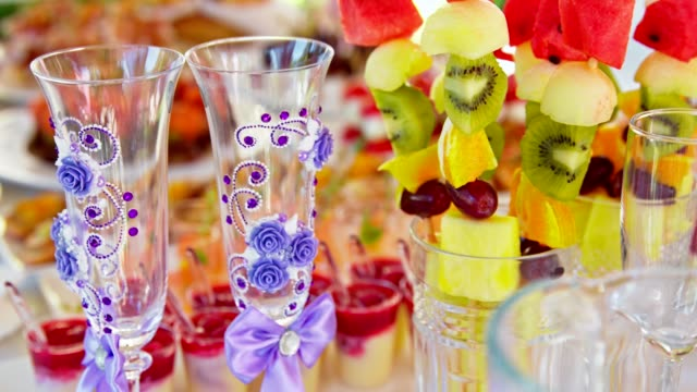 beautiful catering banquet buffet, decorated fruit on table - buffet stock videos & royalty-free footage