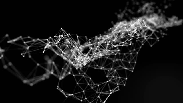 Beautiful CG Generated 3D Abstract Background with Geometry Lines and Dots, Futuristic Network Connection on White Background