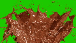 Beautiful Chocolate and Coffee Splashes in Slow Motion and Freeze Motion, Alpha Mask. Flying Through Drops. Useful for Titles and Intro. 3d Animation Food and Health Concept.