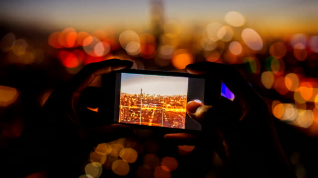 Beautiful cinemagraph effect with animated picture and Taking pictures with smartphone of Beijing Skyline