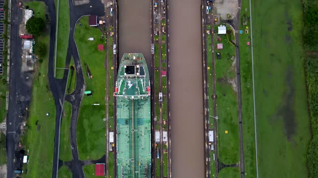 Beautiful cinematic aerial footage of the Panama Canal and the Miraflores Locks