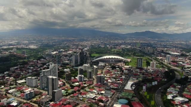 beautiful cinematic aerial footage on the city of san jose costa rica and the sabana park - costa rica stock videos & royalty-free footage