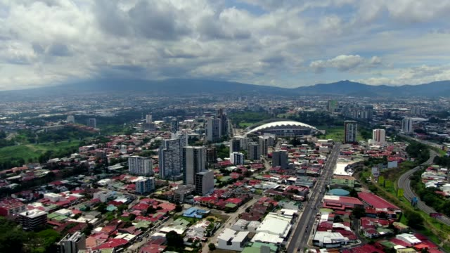beautiful cinematic aerial footage on the city of san jose costa rica and the sabana park - san jose costa rica stock videos & royalty-free footage