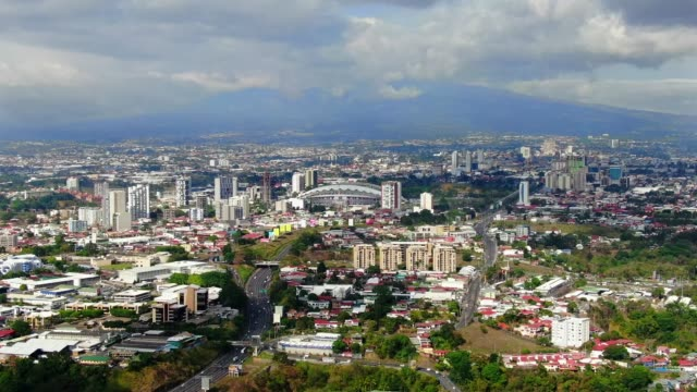 beautiful cinematic aerial view of the city of san jose costa rica - san jose costa rica stock videos & royalty-free footage
