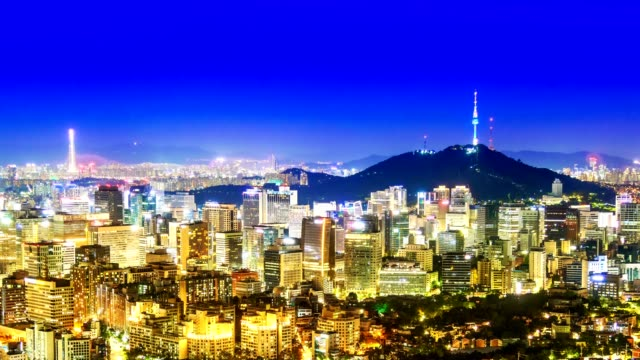 beautiful city in night, cityscape of seoul, south korea, seoul tower modern building and architecture at nighttime - korea stock videos & royalty-free footage