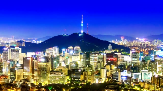 beautiful city in night, cityscape of seoul, south korea, seoul tower modern building and architecture at nighttime - seoul stock videos & royalty-free footage