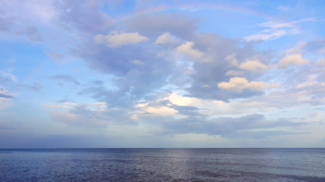 4K: Beautiful clouds sky on the sea