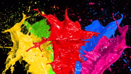 Beautiful Color Paint Splashes in Slow Motion and Freeze Motion with Alpha Mask. Useful for Titles. 3d Animation Art Design Concept.