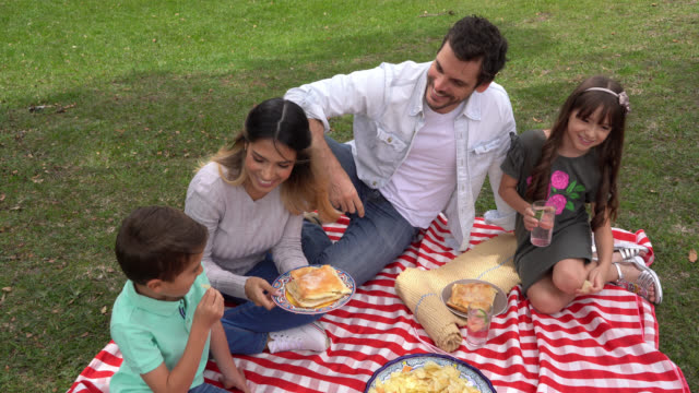 beautiful couple with their two kids enjoying a picnic eating chips and sandwiches at the park - picnic stock videos & royalty-free footage