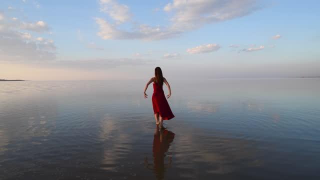 beautiful dancer walking towards the horizon - standing water stock videos & royalty-free footage