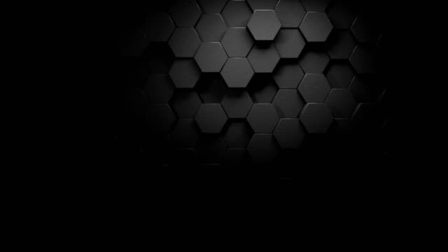 schöne dunkle gray hexagons auf surface morphing mit einer starken beleuchtung in seamless 3d animation, abstract motion design background 4k video - gitter stock-videos und b-roll-filmmaterial