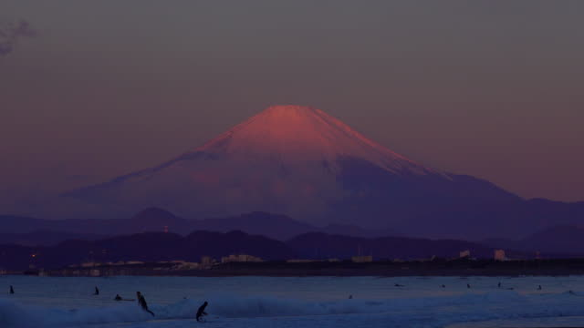 beautiful dawn on the beach and mt fuji - mt fuji stock videos & royalty-free footage