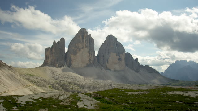 beautiful day in the mountains, three peaks - tre cimo di lavaredo stock videos & royalty-free footage