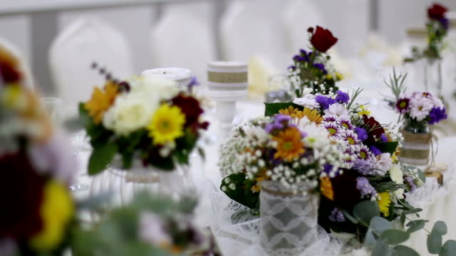 Beautiful decoration of flowers at the wedding