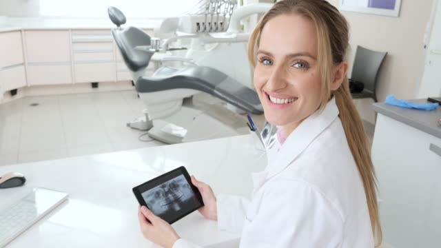 beautiful dentist examining dental x-ray on tablet - human teeth stock videos and b-roll footage