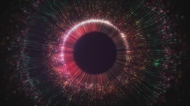 beautiful digital eye iris , light lines background stock video - metal stock videos & royalty-free footage