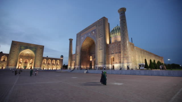 Beautiful Dusk At The Registan -  The Public Square In The Heart Of The Ancient City Of Samarkand In Uzbekistan