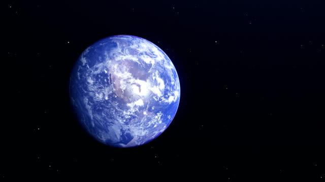 vídeos de stock e filmes b-roll de beautiful earth rotation from space view - oceano pacífico